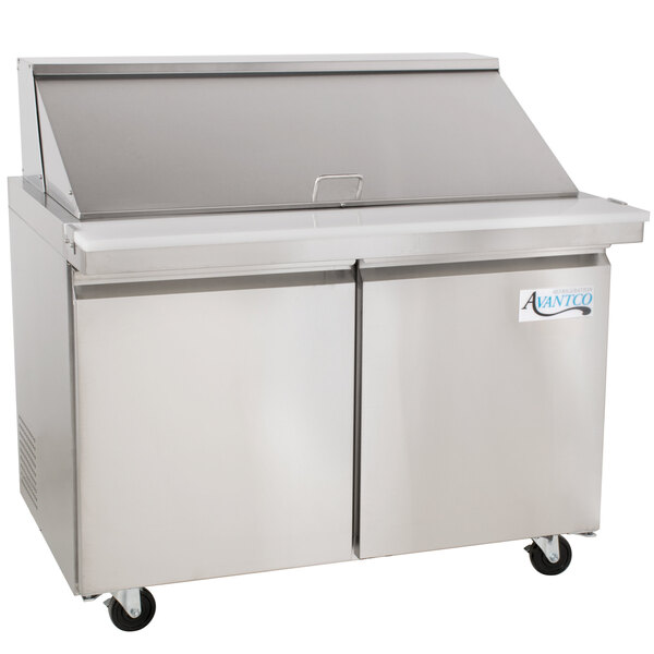 """Scratch and Dent Avantco SS-PT-48M-HC 48"""" 2 Door Mega Top Stainless Steel ADA Height Refrigerated Sandwich Prep Table Main Image 1"""