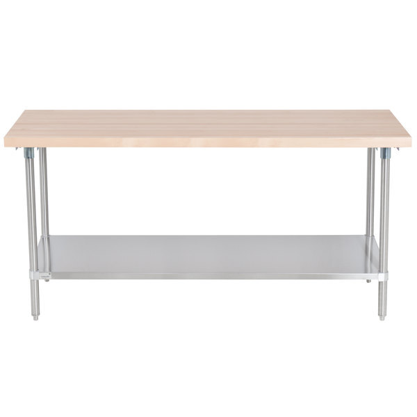 """Scratch and Dent Advance Tabco H2S-366 Wood Top Work Table with Stainless Steel Base and Undershelf - 36"""" x 72"""" Main Image 1"""