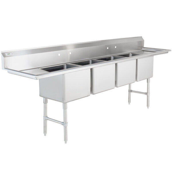 """Scratch and Dent Regency 16 Gauge Stainless Steel Four Compartment Commercial Sink with Two Drainboards - 18"""" x 18"""" x 14"""" Bowls Main Image 1"""