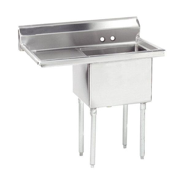 """Scratch and Dent Right Drainboard Advance Tabco FE-1-2424-24-X One Compartment Stainless Steel Commercial Sink with One Drainboard - 50 1/2"""" Main Image 1"""