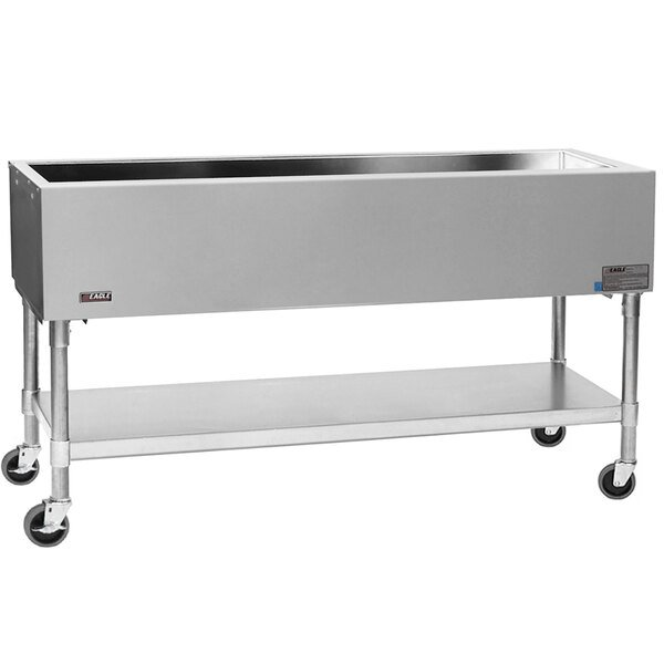 """Scratch and Dent Eagle Group PCP-4 63 1/2"""" Mobile Ice-Cooled Cold Food Table with Galvanized Undershelf and Open Base Main Image 1"""