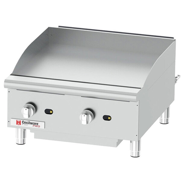 """Scratch and Dent Cecilware Pro GCP24 24"""" Two Burner Countertop Gas Griddle - 60,000 BTU Main Image 1"""