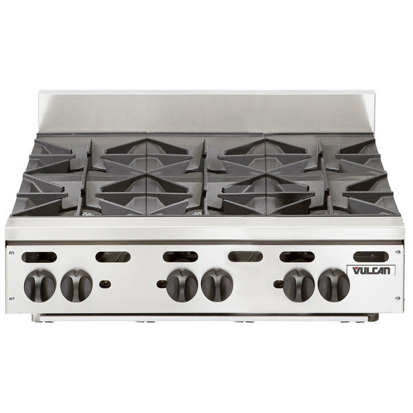 "Scratch and Dent Vulcan VHP636 Natural Gas 36"" 6 Burner Countertop Range - 180,000 BTU Main Image 1"