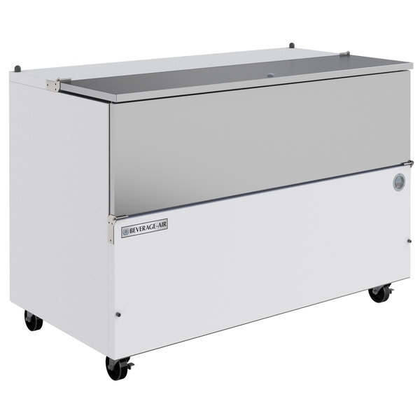 """Scratch and Dent Beverage-Air SM58HC-W-02 58"""" 1-Sided White Milk Cooler with Stainless Steel Interior Main Image 1"""
