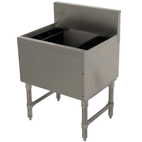 """Scratch and Dent Advance Tabco PRI-19-24-10 Prestige Series Stainless Steel Underbar Ice Bin with 10-Circuit Cold Plate - 20"""" x 24"""" Main Image 1"""