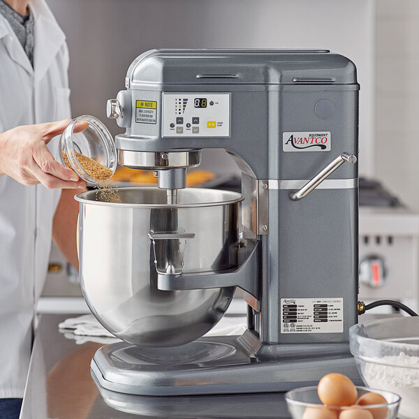 Scratch and Dent Avantco MIX8GY Dark Gray 8 Qt. Bowl Lift Countertop Mixer with Standard Accessories - 120V, 4/5 hp Main Image 1