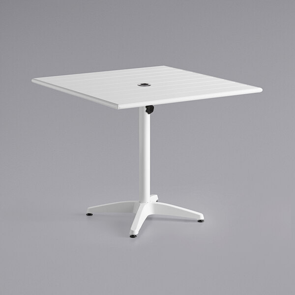 """Scratch and Dent Lancaster Table & Seating 36"""" x 36"""" White Powder-Coated Aluminum Dining Height Outdoor Table with Umbrella Hole Main Image 1"""