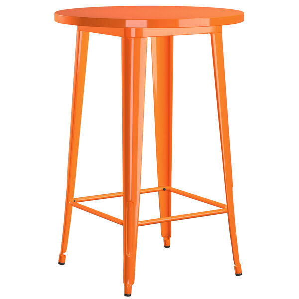"""Scratch and Dent Lancaster Table & Seating Alloy Series 30"""" Round Orange Outdoor Bar Height Table Main Image 1"""