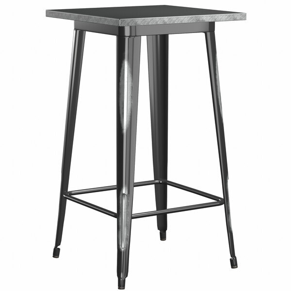 """Scratch and Dent Lancaster Table & Seating Alloy Series 32"""" x 32"""" Square Distressed Black Outdoor Bar Height Table Main Image 1"""