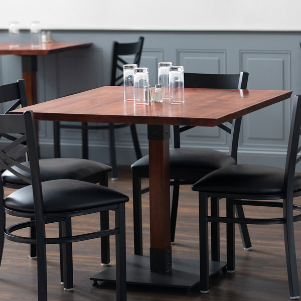 """Scratch and Dent Lancaster Table & Seating 36"""" x 36"""" Solid Wood Live Edge Table Top with Mahogany Finish Main Image 1"""