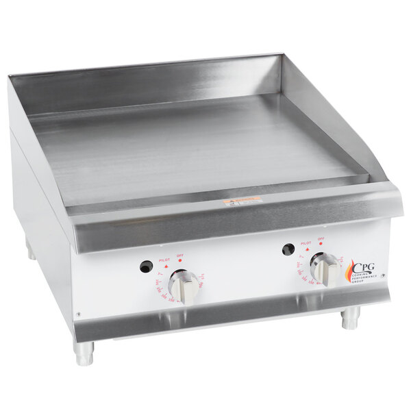 """Scratch and Dent Cooking Performance Group G24T 24"""" Heavy-Duty Gas Countertop Griddle with Flame Failure Protection and Thermostatic Controls - 60,000 BTU Main Image 1"""