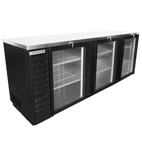 "Scratch and Dent Beverage-Air BB94HC-1-G-B 95"" Black Counter Height Glass Door Back Bar Refrigerator Main Image 1"