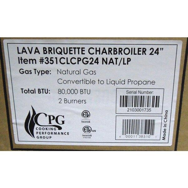 "Scratch and Dent Cooking Performance Group CBL24 24"" Gas Countertop Lava Briquette Charbroiler - 80,000 BTU Main Image 1"