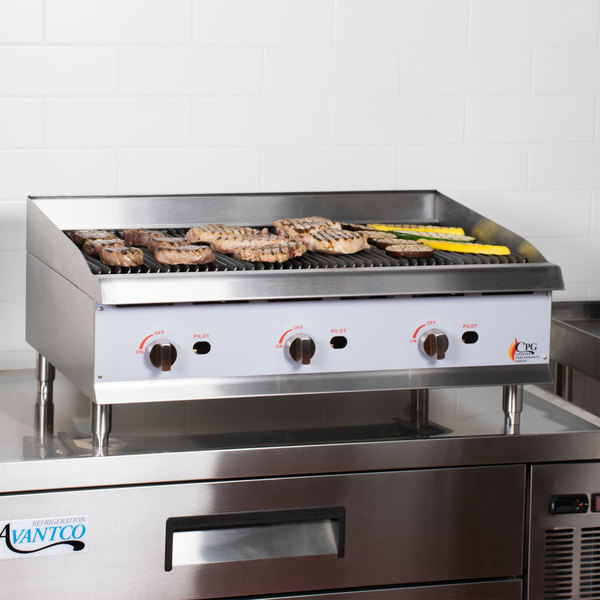"""Scratch and Dent Cooking Performance Group CBR36 36"""" Gas Countertop Radiant Charbroiler - 120,000 BTU Main Image 1"""