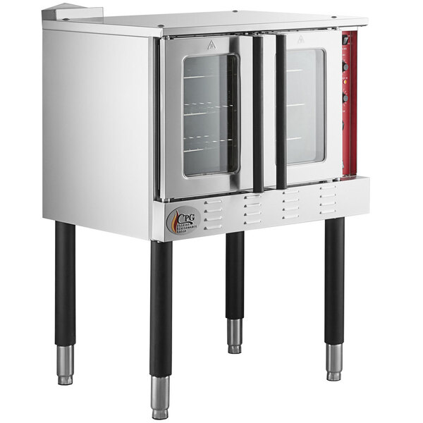 Scratch and Dent Cooking Performance Group FGC100N Single Deck Full Size Natural Gas Convection Oven with Legs - 54,000 BTU Main Image 1