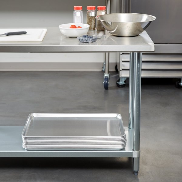 """Scratch and Dent Regency 24"""" x 72"""" 18-Gauge 304 Stainless Steel Commercial Work Table with Galvanized Legs and Undershelf Main Image 1"""