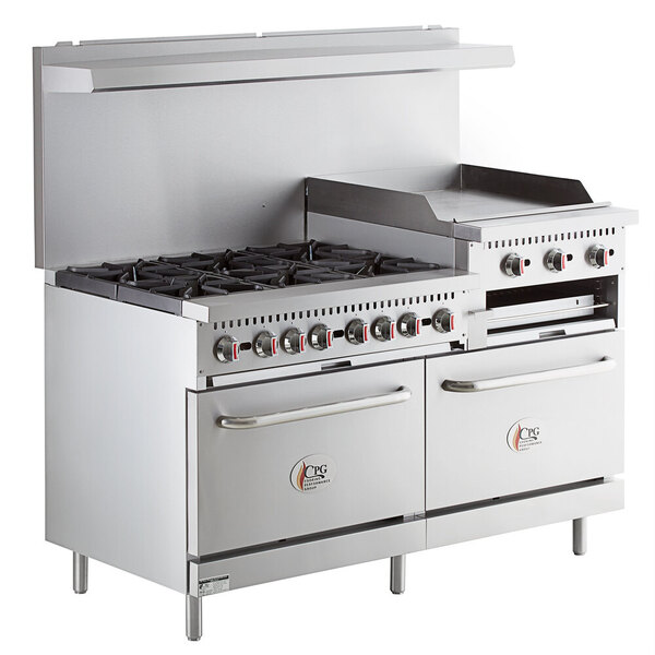 """Scratch and Dent Cooking Performance Group S60-GS24-L Liquid Propane 6 Burner 60"""" Range with 24"""" Griddle/Broiler and 2 Standard Ovens - 276,000 BTU Main Image 1"""