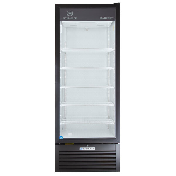 """Scratch and Dent Beverage-Air MT23-1B 29 1/2"""" Marketeer Series Black Refrigerated Glass Door Merchandiser with LED Lighting Main Image 1"""
