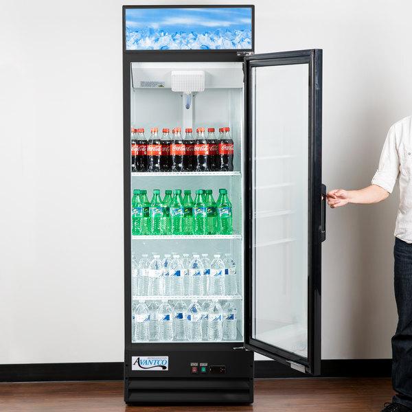 "Scratch and Dent Avantco GDC-15-HC 25 5/8"" Black Swing Glass Door Merchandiser Refrigerator with LED Lighting Main Image 1"