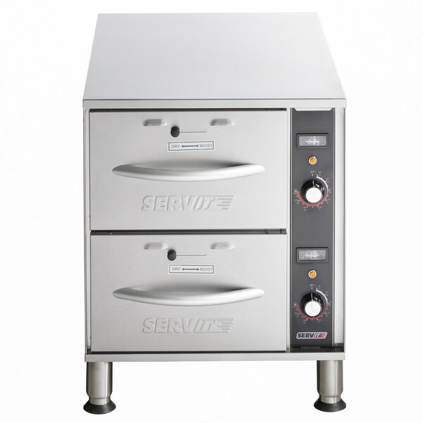 Scratch and Dent ServIt WDNFS-2 Double Narrow Freestanding Drawer Warmer - 900W, 120V Main Image 1