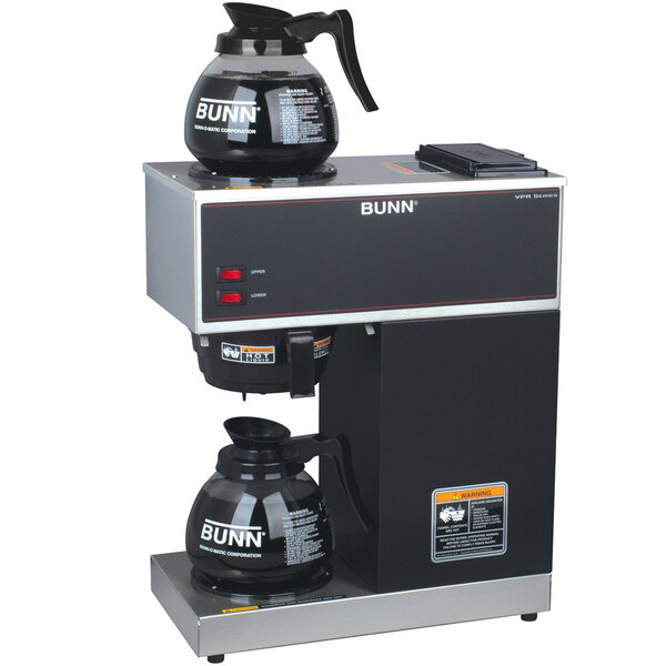 Scratch and Dent Bunn 33200.0015 VPR Black 12 Cup Pourover Coffee Brewer with 1 Upper and 1 Lower Warmer and 2 Glass Decanters - 120V Out of Original Packaging Main Image 1