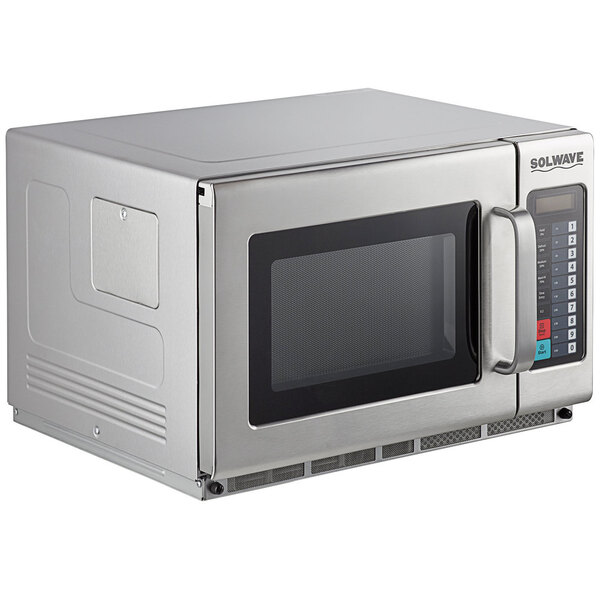 Scratch and Dent Solwave 2100W Stackable Commercial Microwave with Large 1.2 cu. ft. Interior and Push Button Controls - 208/240V Main Image 1