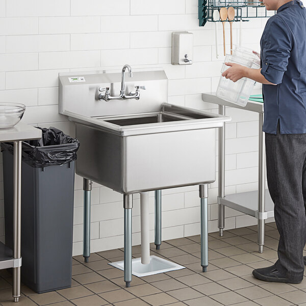 """Scratch and Dent Regency 28"""" 16-Gauge Stainless Steel One Compartment Commercial Sink with Galvanized Steel Legs and without Drainboard - 23"""" x 23"""" x 12"""" Bowl Main Image 1"""