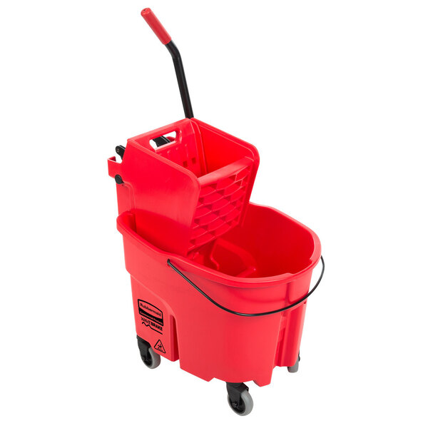 Scratch and Dent Rubbermaid FG758888RED WaveBrake® 35 Qt. Red Mop Bucket with Side Press Wringer Main Image 1