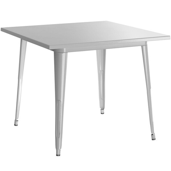 """Scratch and Dent Lancaster Table & Seating Alloy Series 36"""" x 36"""" Silver Dining Height Outdoor Table Main Image 1"""