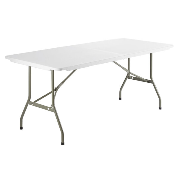 """Scratch and Dent Lancaster Table & Seating 30"""" x 72"""" Heavy-Duty Granite White Plastic Bi-Folding Table Main Image 1"""