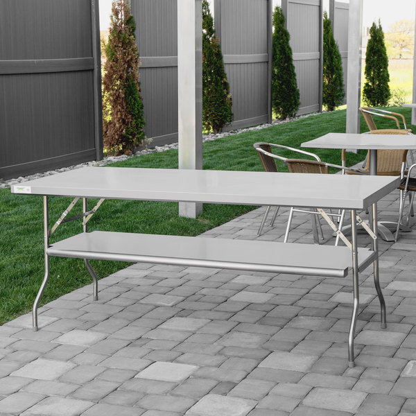 """Scratch and Dent Regency 30"""" x 72"""" 18-Gauge Stainless Steel Folding Work Table with Removable Undershelf Main Image 1"""
