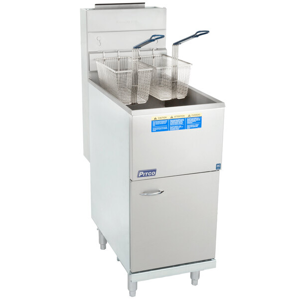 Scratch and Dent Pitco® 35C+S Natural Gas 35-40 lb. Stainless Steel Floor Fryer Main Image 1