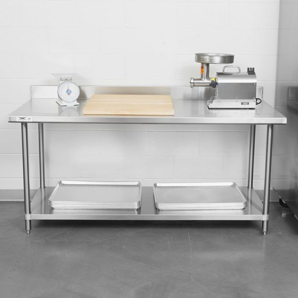 """Scratch and Dent Regency Spec Line 30"""" x 72"""" 14 Gauge Stainless Steel Commercial Work Table with 4"""" Backsplash and Undershelf Main Image 1"""