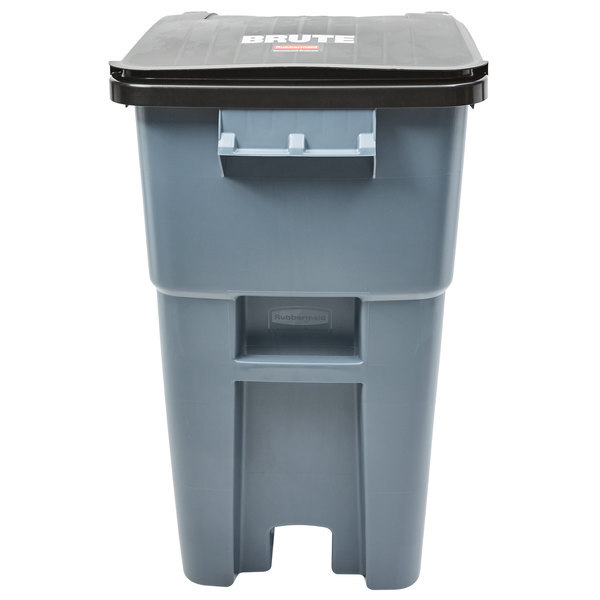 Scratch and Dent Rubbermaid FG9W2700GRAY Brute 50 Gallon Gray Wheeled Rectangular Trash Can with Lid Main Image 1