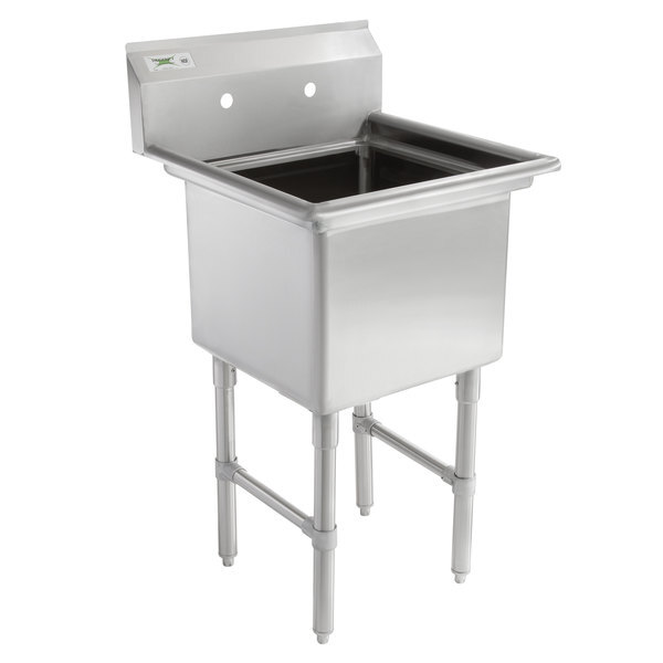 """Scratch and Dent Regency 23"""" 16-Gauge Stainless Steel One Compartment Commercial Sink with Stainless Steel Legs, without Drainboard - 18"""" x 18"""" x 14"""" Bowl Main Image 1"""