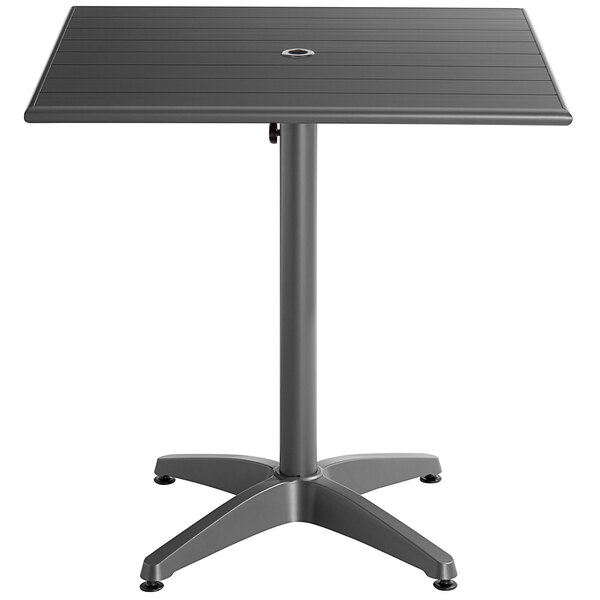 """Scratch and Dent Lancaster Table & Seating 32"""" x 32"""" Gray Powder-Coated Aluminum Dining Height Outdoor Table with Umbrella Hole Main Image 1"""