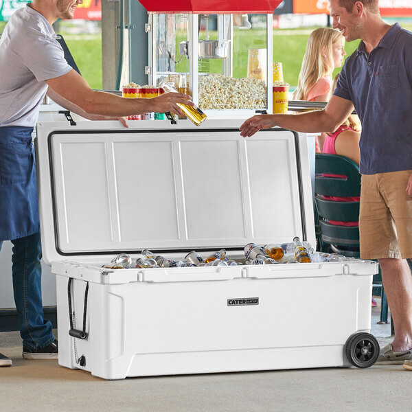 Scratch and Dent CaterGator CG200WHW White 210 Qt. Mobile Rotomolded Extreme Outdoor Cooler / Ice Chest Main Image 1