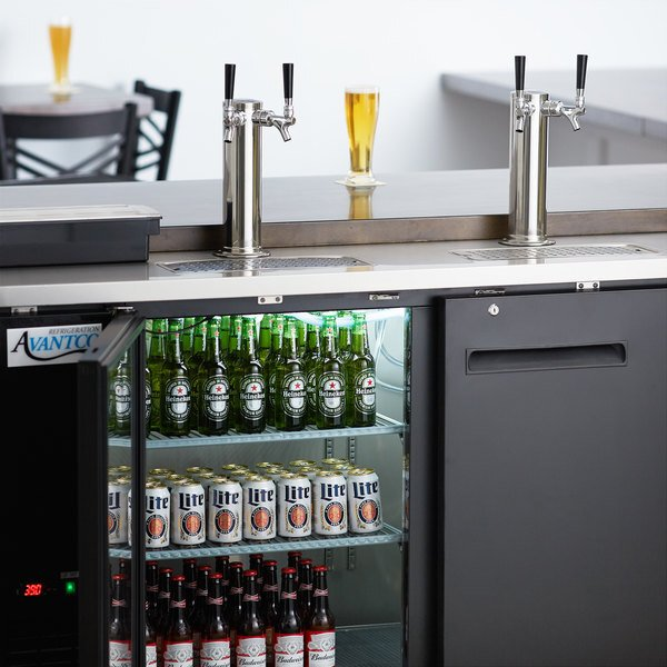 Scratch and Dent Avantco UDD-60-HC (2) Double Tap Kegerator Beer Dispenser - Black, (2) 1/2 Keg Capacity Main Image 1