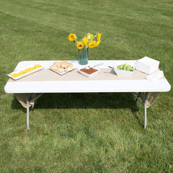 """Scratch and Dent Lancaster Table & Seating 30"""" x 72"""" Heavy-Duty Granite White Plastic Folding Table Main Image 1"""