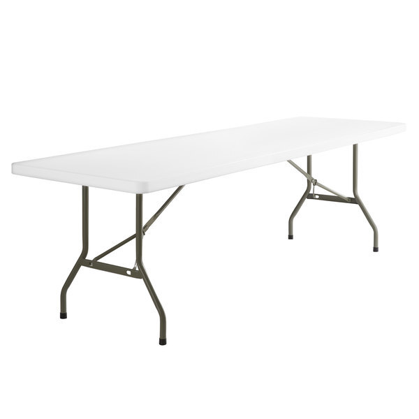 """Scratch and Dent Lancaster Table & Seating 30"""" x 96"""" Heavy-Duty Granite White Plastic Folding Table Main Image 1"""