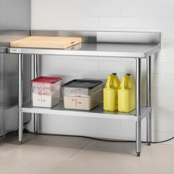 """Scratch and Dent Regency 18"""" x 48"""" 18-Gauge 304 Stainless Steel Commercial Work Table with 4"""" Backsplash and Galvanized Undershelf Main Image 1"""