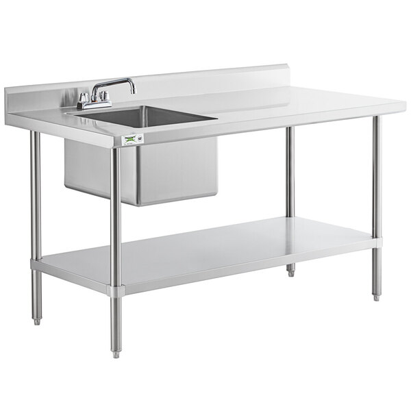 """Scratch and Dent Sink on Left Regency 30"""" x 60"""" 16 Gauge Stainless Steel Work Table with Sink Main Image 1"""