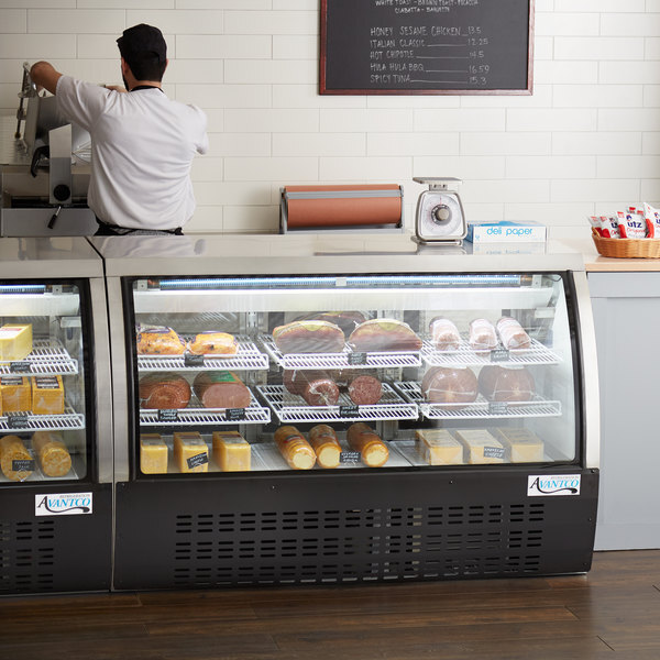 """Scratch and Dent Avantco DLC64-HC-B 64"""" Black Curved Glass Refrigerated Deli Case Main Image 1"""