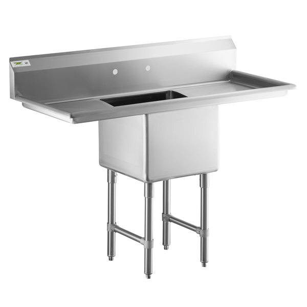 """Scratch and Dent Regency 54"""" 16-Gauge Stainless Steel One Compartment Commercial Sink with 2 Drainboards - 18"""" x 18"""" x 14"""" Bowl Main Image 1"""