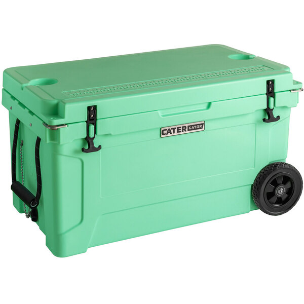 Scratch and Dent CaterGator CG65SFW Seafoam 65 Qt. Mobile Rotomolded Extreme Outdoor Cooler / Ice Chest Main Image 1
