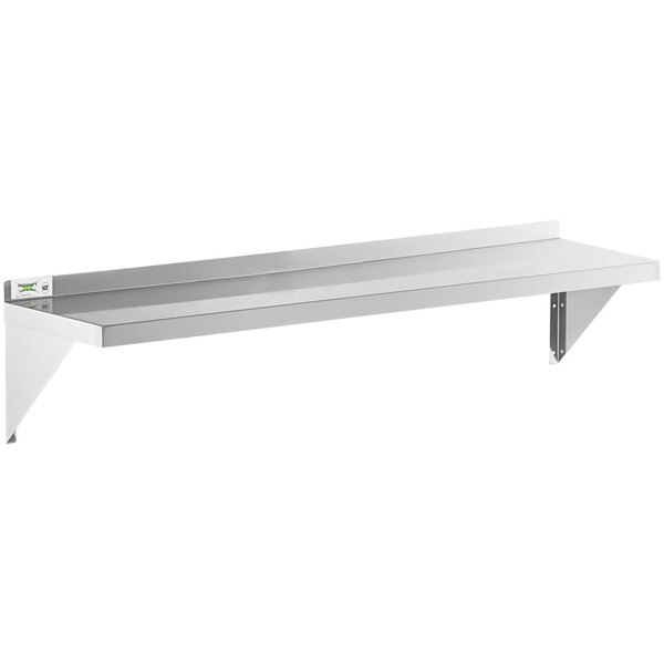 "Scratch and Dent Regency 16 Gauge Stainless Steel 12"" x 60"" Heavy Duty Solid Wall Shelf Main Image 1"