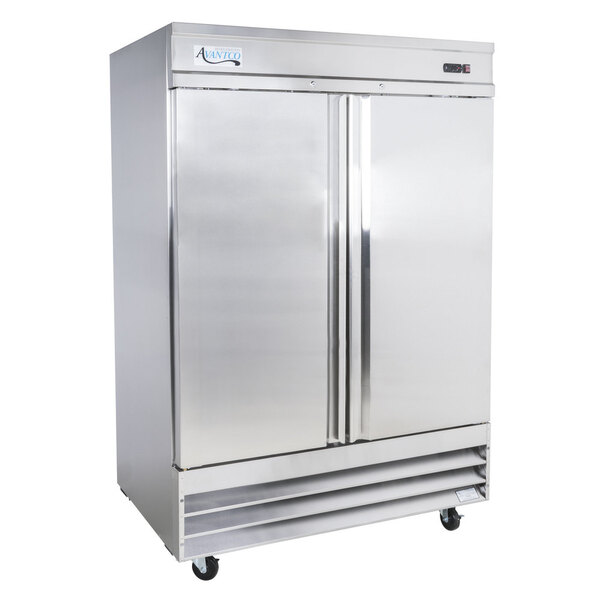 """Scratch and Dent Avantco SS-2R-HC 54"""" Stainless Steel Solid Door Reach-In Refrigerator Main Image 1"""