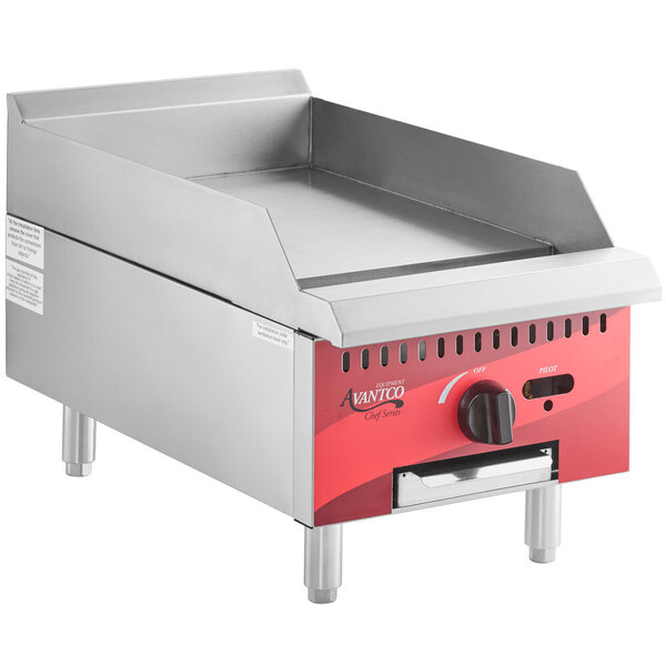 """Scratch and Dent Avantco Chef Series CAG15MG 15"""" Countertop Gas Griddle with Manual Controls - 30,000 BTU Main Image 1"""