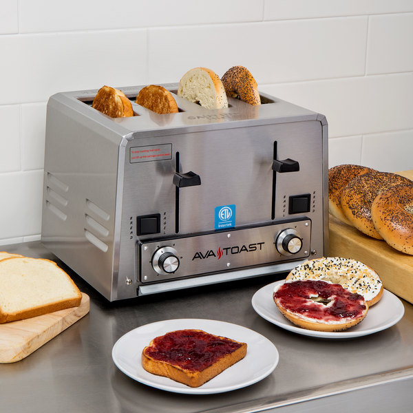 Scratch and Dent Avatoast THD27208 Heavy-Duty Switchable Bread and Bagel 4-Slice Commercial Toaster - 208V Main Image 1