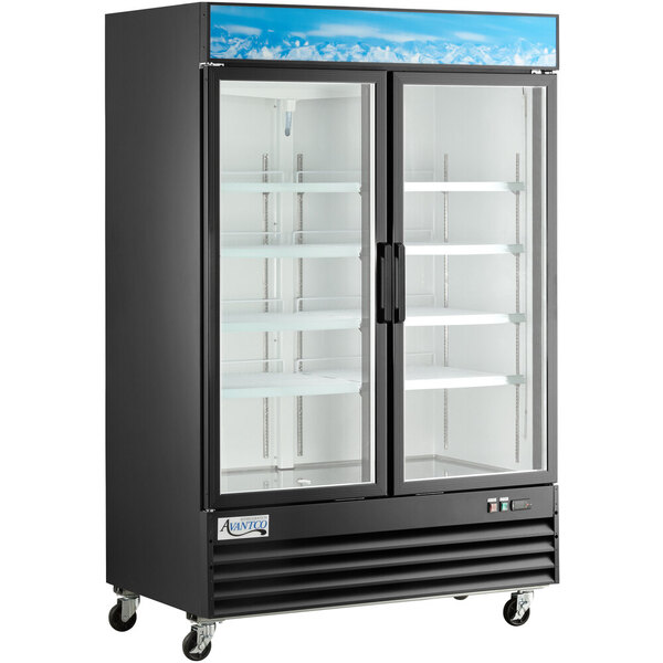 "Scratch and Dent Avantco GDC-49-HC 53"" Black Swing Glass Door Merchandiser Refrigerator with LED Lighting Main Image 1"